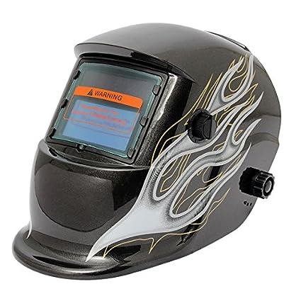 MASUNN Negro Llama Solar Auto Oscurecimiento Soldadura Soldador Casco Máscara