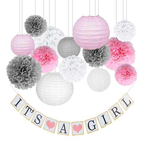 Dinomisk Premium Girl Baby Shower Decorations Kit for Girls – Includes Pink, White, and Grey Party Favors, Decorative Paper Lanterns, Tissue Paper Flower Pom Poms, Its A Girl Banner, String, 26 Pieces