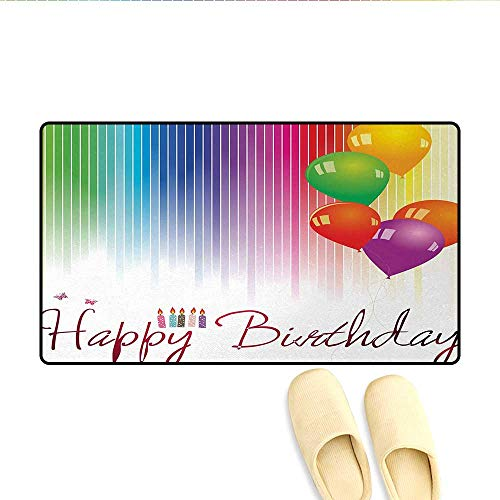 Bath Mat,Rainbow Colored Striped Backdrop Balloons Stylized Lettering Candles Artwork Prit,Door Mats for Inside Non Slip Backing,Multicolor,Size:32