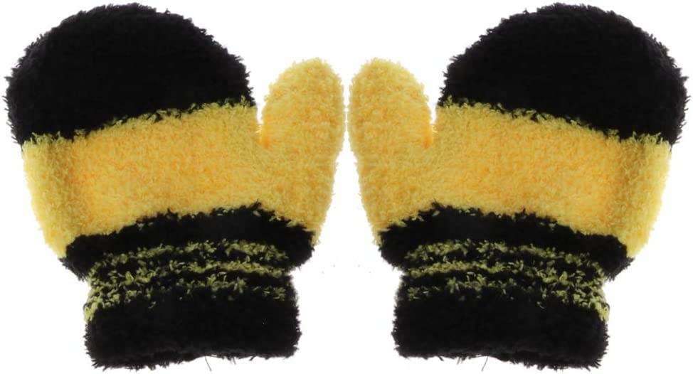 Autone Cute Infant Baby Kid Boys Girls Warm Winter Gloves Toddler Knit Rainbow Mittens For 1-3 Year Old Baby