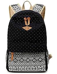 Greeniris Women Causal Canvas Shoulder Bag Travel Vintage Backpack for Women/School Teens