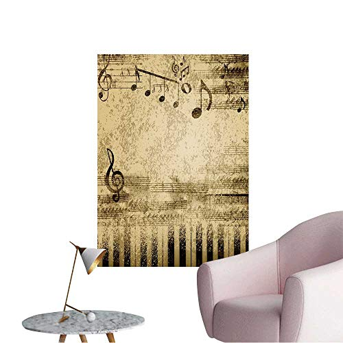 Wall Decoration Wall Stickers Music Notes on Old Paper Sheet Background Print Artwork,32