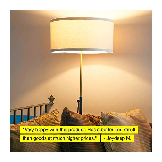 """Brightech Telescope - Black & Gold Modern Floor Lamp for Bedroom - Tall, Height Adjustable Pole Light for Living Room & Office Lighting - Standing Lamp, Antique Brass - with LED Bulb - UNIQUE MODERN DESIGN THAT LOOKS GREAT WITH ANY DECOR: The Brightech Telescope LED Floor Lamp is stylish, unique, and convenient too, and will get your guests talking about all its amazing features. The gold accents on the pole, base, and socket stand out in either color and create a touch of elegance in any space. The height adjustable pole means that you can set the scene exactly how you want it. It's pairs well with modern, minimalist, contemporary, and rustic decor schemes. BEAUTIFUL WARM LIGHT FOR HOME & OFFICE; FITS IN NARROW SPACES An alternative to unpleasant overhead lights, the Telescope LED lamp provides soft yet plentiful room lighting to enlighten your indoor space. It's perfect for bedrooms or living rooms, and the slim design allows for easy placement. It fits perfectly behind sofas or next to end tables, to shine overhead with a warm, inviting glow that isn't harsh or glaring. SPECS: ALEXA & GOOGLE COMPATIBLE, HEAVY BASE, 65"""" TALL: Works with smart outlets that are Alexa, Google Home Assistant, or Apple HomeKit enabled, to turn on/off. (Requires smart outlet sold separately.) Brightech designed this lamp with safety in mind. Its weighted base keeps it from tipping easily. Shade 9"""" tall by 18"""" diameter. - living-room-decor, living-room, floor-lamps - 516smbUv3aL. SS570  -"""