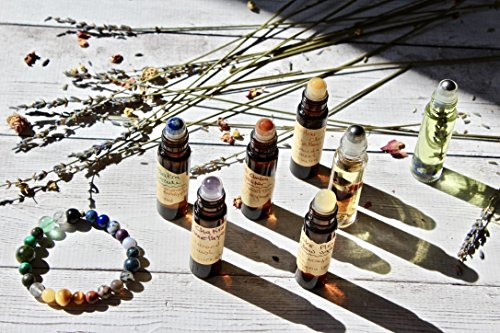 Seven Chakra Organic Essential Oil Crystal Gift Set, Gemstone Bracelet, Crystal Roller Ball, Gifts for Her, Gifts for Him by Gaia Oak Bee
