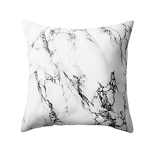 Birdfly Elegant Chic Marble Design Soft Texture Throw Pillow Cases Geometric Square Cushion Covers Decorative Pillowcase, Fall Winter Home Decor Office Sofa Bedding Party Car Cafe Decoration (I)