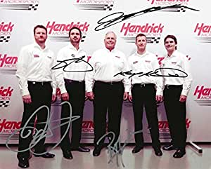 5X AUTOGRAPHED Dale Earnhardt Jr. / Jeff Gordon / Jimmie Johnson / Kasey Kahne / Rick Hendrick HMS TEAM MEDIA DAY Group Pose Signed Picture NASCAR 8X10 Inch Glossy Photo with COA