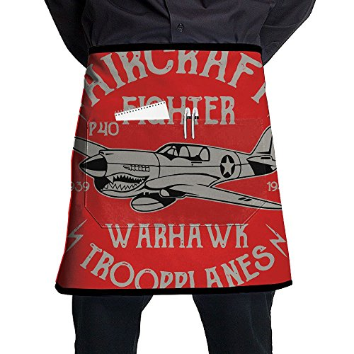 Bing4Bing Unisex Warcraft Fighter Plane 100% Polyester Durable Comfortable Kitchen Chef Aprons For Women And Men