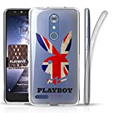 zte zmax british - ZTE ZMax Pro Z981, ZTE Blade X Max Case, DuroCase Clear Slim Fit Flexible Hybrid Soft Gel Transparent TPU Bumper Corners Protective Case (British Flag Playboy Bunny) (Authentic Licensed Playboy)