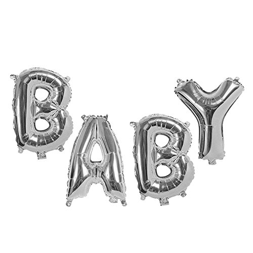 Treasures Gifted 40 Inch Baby Silver Mylar Foil Letters Balloons Helium Kit Personalized Party Supplies Gender Neutral Reveal Shower Glamorous Alphabet Aluminum Ornaments -