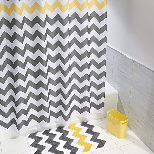mDesign Bathroom Shower Accessory Set - Includes Polyester Chevron Fabric Shower Curtain, Microfiber Bathroom Accent Rug, Plastic Wastebasket - Set of 3, Gray/Yellow/White