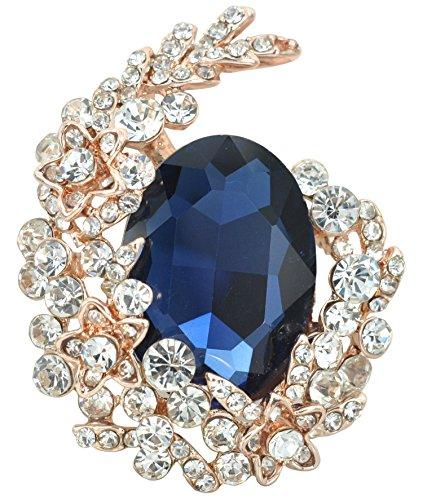 Gyn&Joy Gold Tone Blue Crystal Rhinestone Cluster Floral Wreath Brooch Pin BZ088