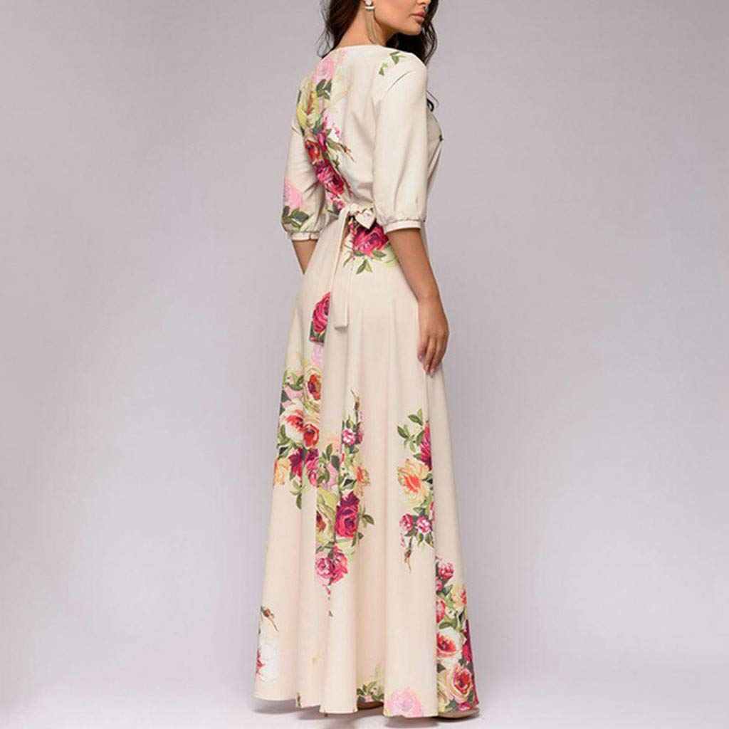 Ximandi Women Boho Floral Printed Short Sleeve Casual Flowy Party Long Maxi Dress