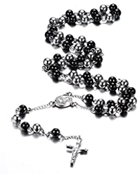 MG Jewelry Christian Catholic Black Silver Stainless Steel Beads Crucifix Religious Long Rosary Necklace