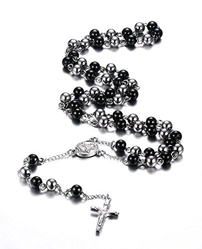 Stainless Steel Rosary Beads Catholic Crucifix Long Chain Cross Necklace,Black (Crystal Rosary Cross)