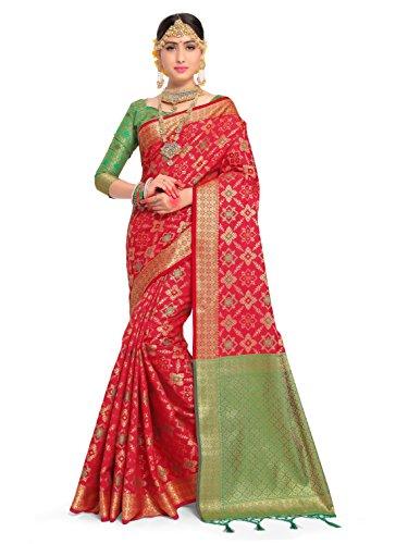 ELINA FASHION Sarees for Women Patola Art Silk Woven Work Saree l Indian Wedding Ethnic Sari with Blouse Piece (Red) by ELINA FASHION