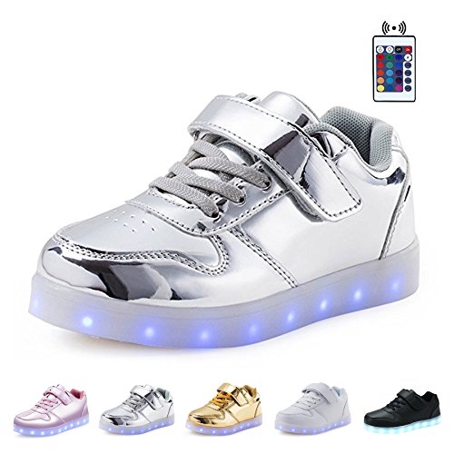 USB 7 Colors Top up Night Shiny Shoes Sneaker KEALUX LED Silver Low Lace Charging Sport wqpnEFXfxI