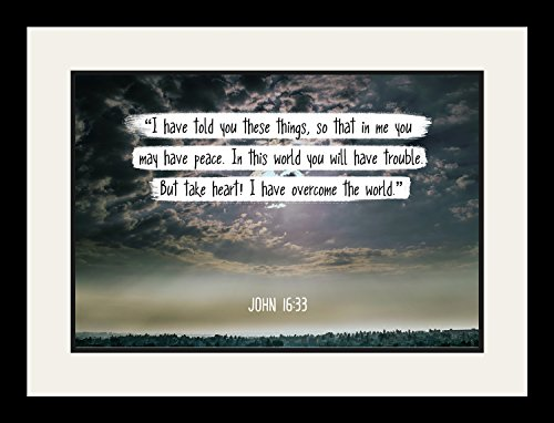 Bible Verse Wall Art ''In this world you will have trouble.'' John 16:33 Christian Poster Framed Picture Wall Decor Print | Spiritual Inspirational Verses and Quotes (19x25 Framed) by WeSellPhotos