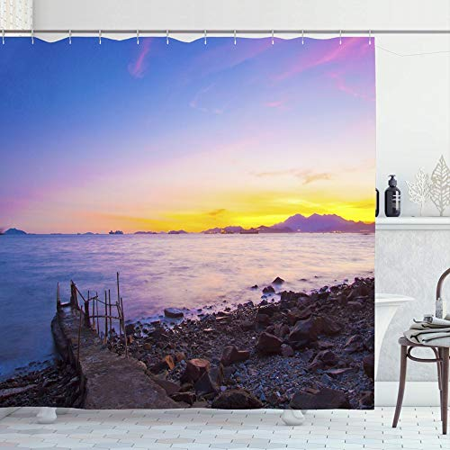 Ahawoso Shower Curtain for Bathroom 72x72 Beautiful Nature Dramatic Sunset Along Evening -
