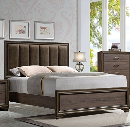 Acme Eastern King Bed with Uhpolstered Headboard, Fabric & Walnut