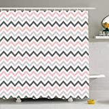 Pink and Gray Chevron Shower Curtain ArtsDecor Shower Curtains 66 x 72 Inches Abstract Pink Gray Chevron Pattern Artistic Classic Continuity Creative Drawing Geometric Waterproof Fabric Bathroom Home Decor Set Hooks