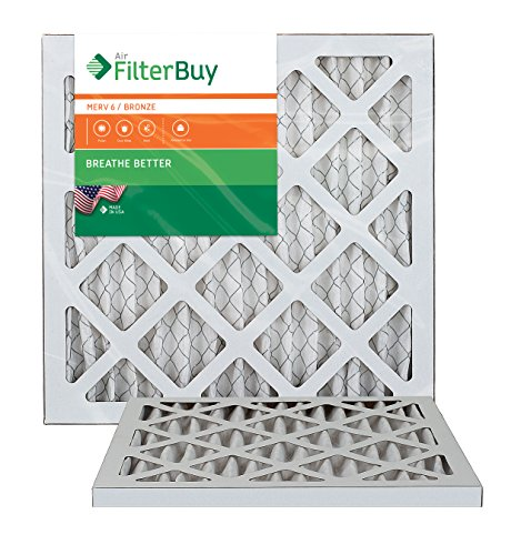 10x14x1 AFB Bronze MERV 6 Pleated AC Furnace Air Filter. Pack of 2 Filters. 100% produced in the USA. by FilterBuy