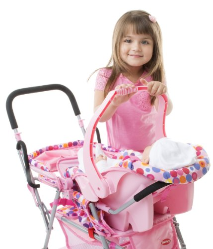 Amazon.com: Joovy Toy Doll Caboose Tandem Stroller - Pink Dot ...