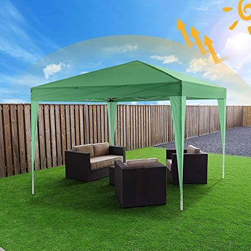 Bunao Carpa con Paredes 3x6 m | Plegable, Impermeable, con Protección Solar, Ideal para Fiestas en el Jardín | Gazebo, Cenador, Pabellón, Tienda Fiestas | Persona 10-12 (Verde): Amazon.es: Jardín