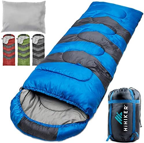 HiHiker Camping Sleeping Bag Travel Pillow w Compact Compression Sack 4 Season Sleeping Bag for Adults Kids Lightweight Warm and Washable, for Hiking Traveling.