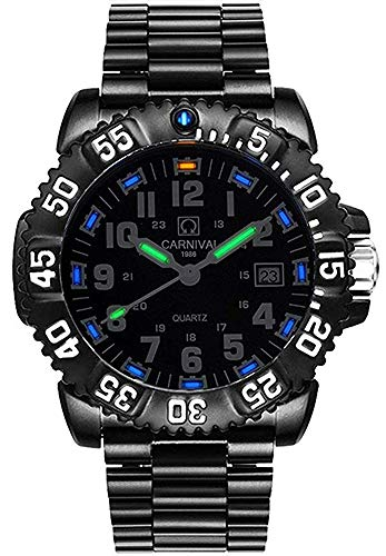 Men's Swiss Tritium Luminous Sports Watches H3 Quartz Army Black Dial Rotatable Bezel Sports WristWatch