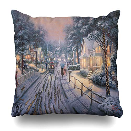(Ahawoso Throw Pillow Cover Square 16x16 Inches Hometown Christmas Memories by Thomas Kinkade Decorative Pillow Case Home Decor Pillowcase)