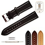 Leather Watch Band in Premium Genuine leather for Watch Replacement Strap Comes in Choice of Color & Width 18mm, 20mm or 22mm by Chronostrap