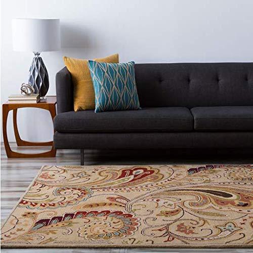 (Bryson Traditional Persian 5' x 8' Rectangle Transitional 100% Wool Khaki/Dark Brown/Wheat/Camel/Beige/Tan/Medium Gray/Garnet Area Rug)