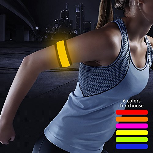 Higo LED Armband, Glow in The Dark Led Slap Bracelets, Light Up Sports Safety Wristbands for Running, Cycling, Jogging, Dog Walking (Yellow 35cm)]()