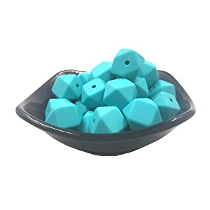 Silicone Hexagon Pearl Beads 50pc 14mm Silicone Geometric Hexagonal Beads Balls Mom Nursing Jewelry Chewing Necklaces (Turquoise)