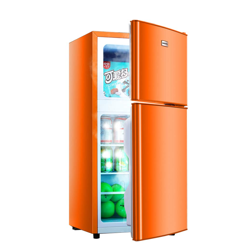 Mini-fridge Lxn Compact Double Door Refrigerator and Freezer, Suitable for Office, Dorm or Apartment with Adjustable Removable Glass Shelves,108L Capacity, Orange
