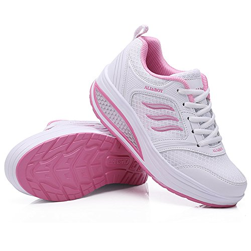 Compensées Marcher Fitness Course Chaussures Balançoire Blanc Sneakers Sport Mode Basses Casual Chaussure Respirantes pwTYqY