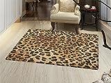 Leopard Print Bath Mats for floors Skin Pattern of a Wild African Safari Animal Powerful Panthera Big Cat Door Mat indoors Bathroom Mats Non Slip Pale Brown Black