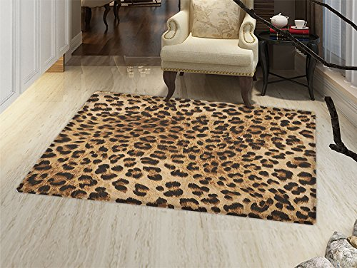 Leopard Print Door Mat indoors Skin Pattern of a Wild African Safari Animal Powerful Panthera Big Cat Customize Bath Mat with Non Slip Backing Pale Brown Black (Leopard Chair)