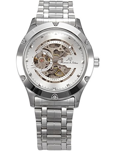 Kronen Soehne Stainless Steel Silver Round man mens Analog Mechanical Automatic Wrist Watch