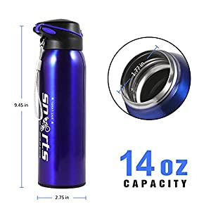 Sports Water Bottle, MerceHygea Vacuum Insulated Water Bottle 14oz Double Wall Stainless Steel Water Bottle, Keeps Your Drink Hot or Cold, Perfect for Outdoor Sports Camping Hiking Cycling (Blue)