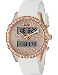 GUESS Womens U0818L3 Trendy Stainless Steel Multi-Function Watch with Digital Dial and Silicone Strap Buckle