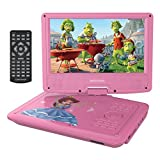 """DBPOWER 9"""" Portable DVD Player for Kids, Swivel Screen, 3 Hours Rechargeable Battery, SD Card Slot and USB Port (Pink)"""