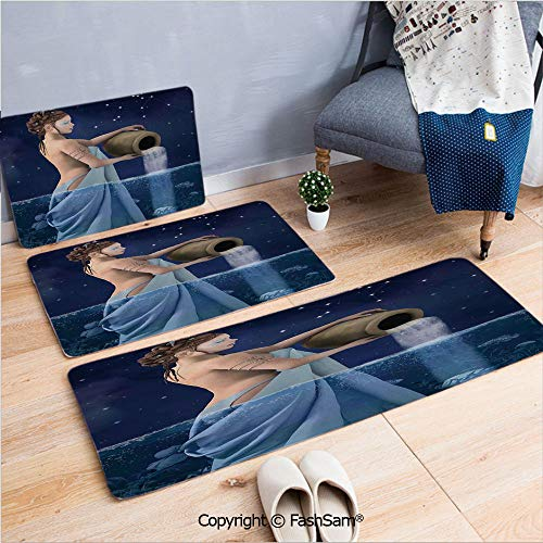 - FashSam 3 Piece Flannel Doormat Aquarius Lady with Pail in The Sea Water Signs Saturn Mystry at Night Stars Decorative for Kitchen Rugs Carpet(W15.7xL23.6 by W19.6xL31.5 by W31.4xL47.2)
