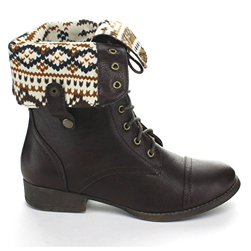 mid Brown combat DBDK SHARPERY lace style boots up calf Women's 1 xqPFqTv0