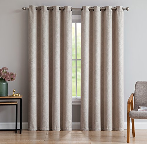 "AsaTex Loretta - Embossed Thermal Weaved Blackout Grommet Curtains - Room Darkening & Noise Reduction Fabric - Blocks up to 97% of Sunlight - Premium Draperies (Pair, 54"" W x 84"" L, Ivory) - SLEEPING EXPERIENCE SUPREME: Our sleek embossed curtains will take your home dŽcor to the next level while giving you much needed sunlight and sound blocking to let you enjoy the best sleep of your life. The premium blackout weave fabric keeps most sunlight and exterior noise from reaching into your room or your babyÕs room and allows you to get a good nightÕs sleep. PREMIUM GRADE SUNLIGHT PROTECTION: Our curtain panels are made out of 100% high quality Polyester that is ultra-durable. Our unique fabric is a blackout weave that will keep sunlight from reaching into your room and the thermal quality of the fabric will keep your home hot in the winter and cold in the summer! THE PRACTICAL CHOICE: Package includes: 1 panel 54 x 84 inches, with 8 grommets. You can also visit our page and discover even more size and color options so that your purchase is tailor-made to your needs! Find the perfect curtains at Loretta. - living-room-soft-furnishings, living-room, draperies-curtains-shades - 516sq6kdUjL -"
