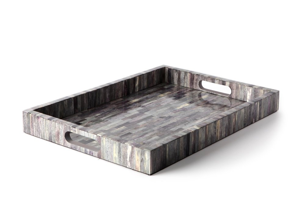 Carla Carstens Melange Bone Grey Large Iridescent Tray | Vanity Tray Cosmetic Jewelry Storage Handmade Rectangle Ottoman Catchall Serving by Carla Carstens