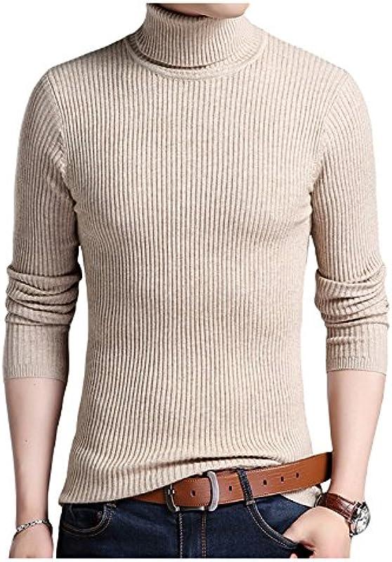 Best Gift bluza koszulka męska do robienia na drutach sweter sweter z odwijanym kołnierzem jesienno-zimowej Stretch - wielbłąd: Odzież