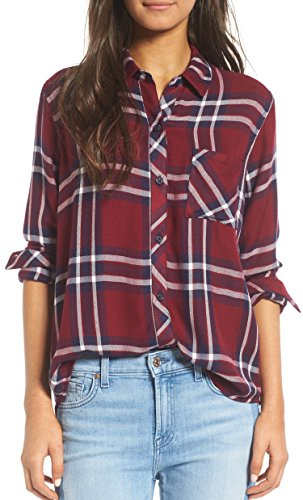 BomDeals Womens Casual Relaxed Button Front Long Rustic Plaid Buttery-Soft Flannel Shirt free shipping