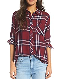 Womens Casual Relaxed Button Front Long Rustic Plaid Buttery-Soft Flannel Shirt