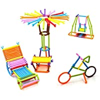 Vibgyor Vibes Magic Building Kit/Blocks - Colourful Plastic Building Stick Kits, Connector Set Innovative Shapes and Designs Can Be Made, Multi Color
